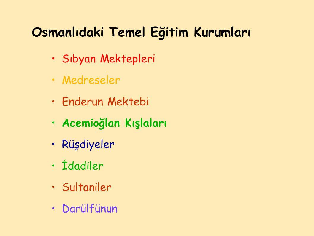 Osmanlıdaki Temel Eğitim Kurumları