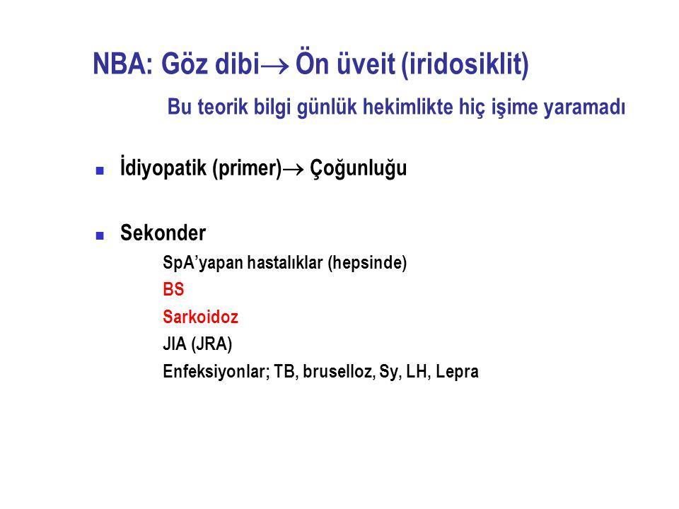 NBA: Göz dibi Ön üveit (iridosiklit) Bu teorik bilgi günlük hekimlikte hiç işime yaramadı