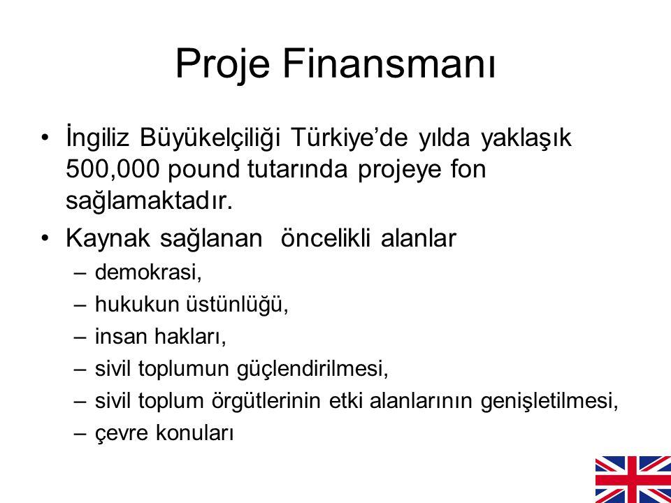 Proje Finansmanı İngiliz Büyükelçiliği Türkiye'de yılda yaklaşık 500,000 pound tutarında projeye fon sağlamaktadır.
