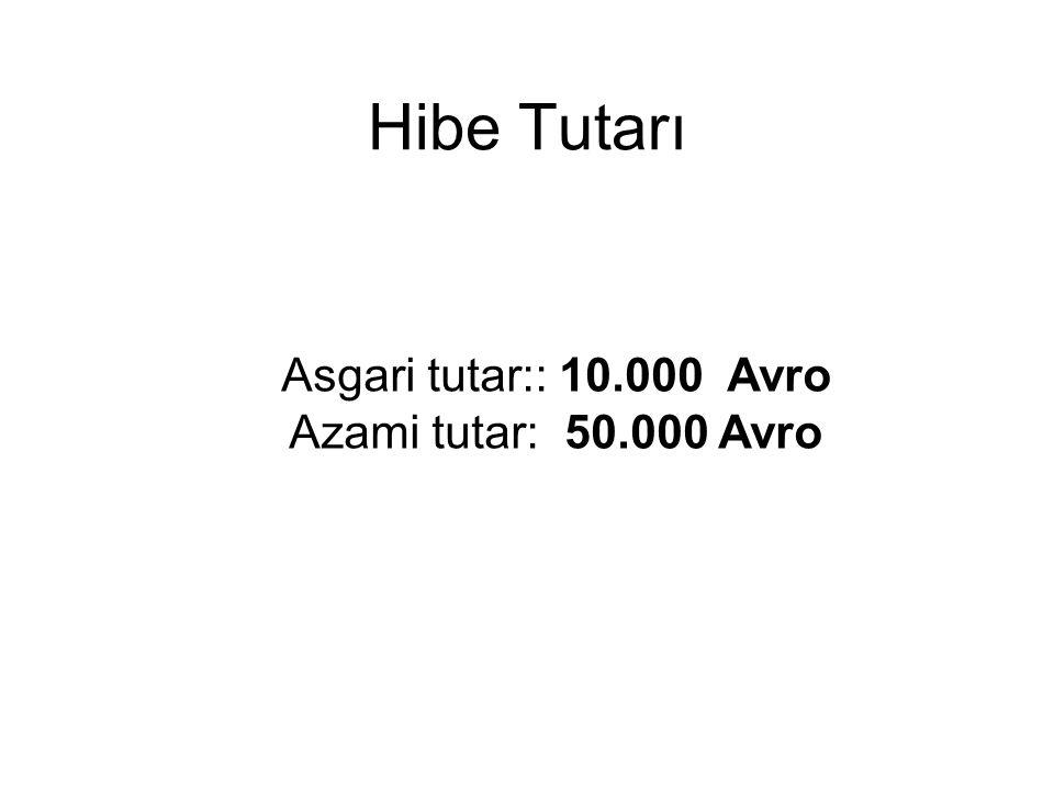 Hibe Tutarı Asgari tutar:: 10.000 Avro Azami tutar: 50.000 Avro
