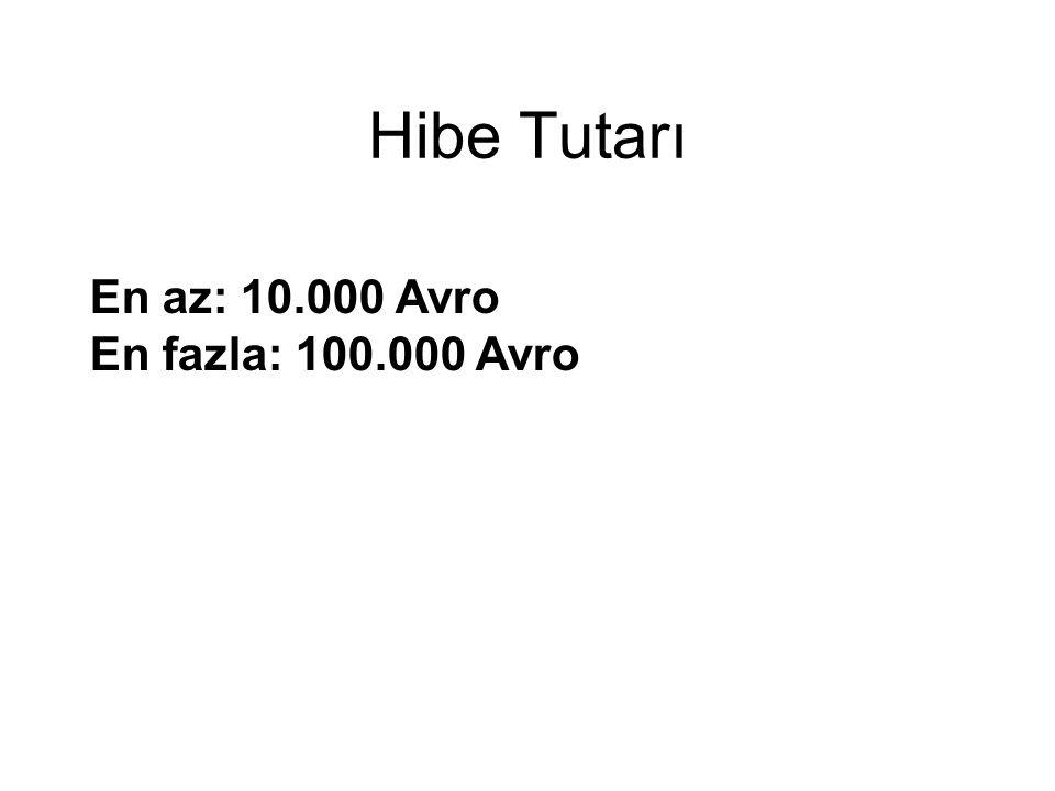 Hibe Tutarı En az: 10.000 Avro En fazla: 100.000 Avro