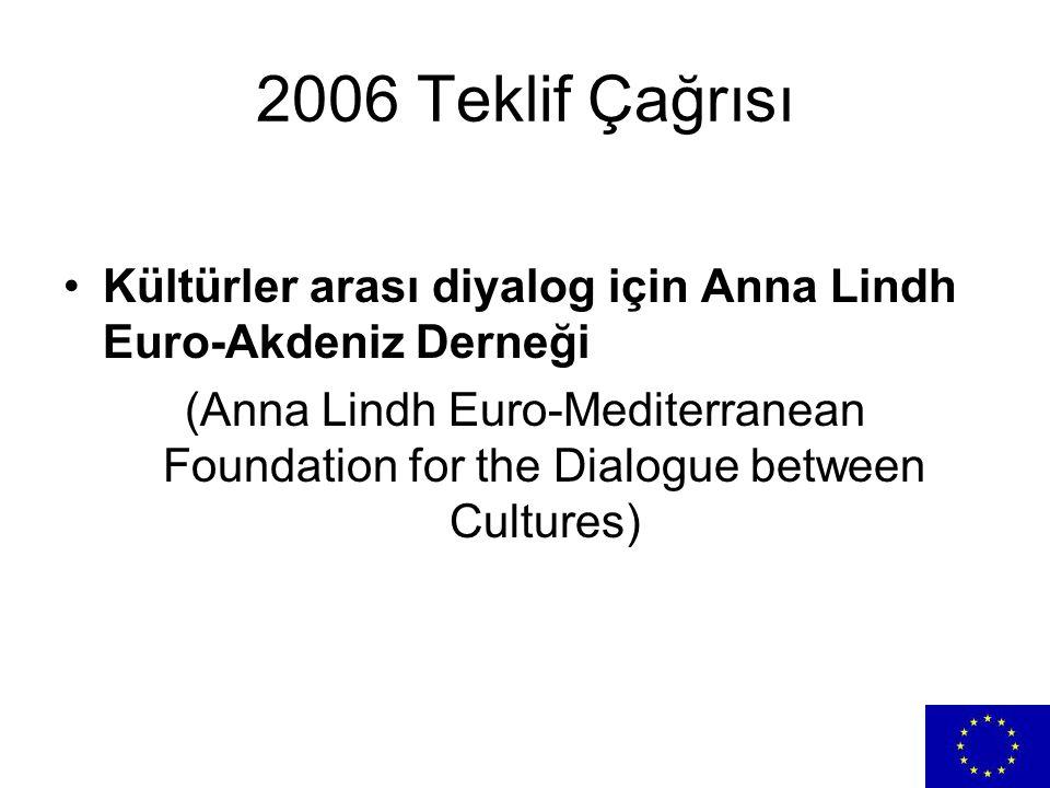 2006 Teklif Çağrısı Kültürler arası diyalog için Anna Lindh Euro-Akdeniz Derneği.