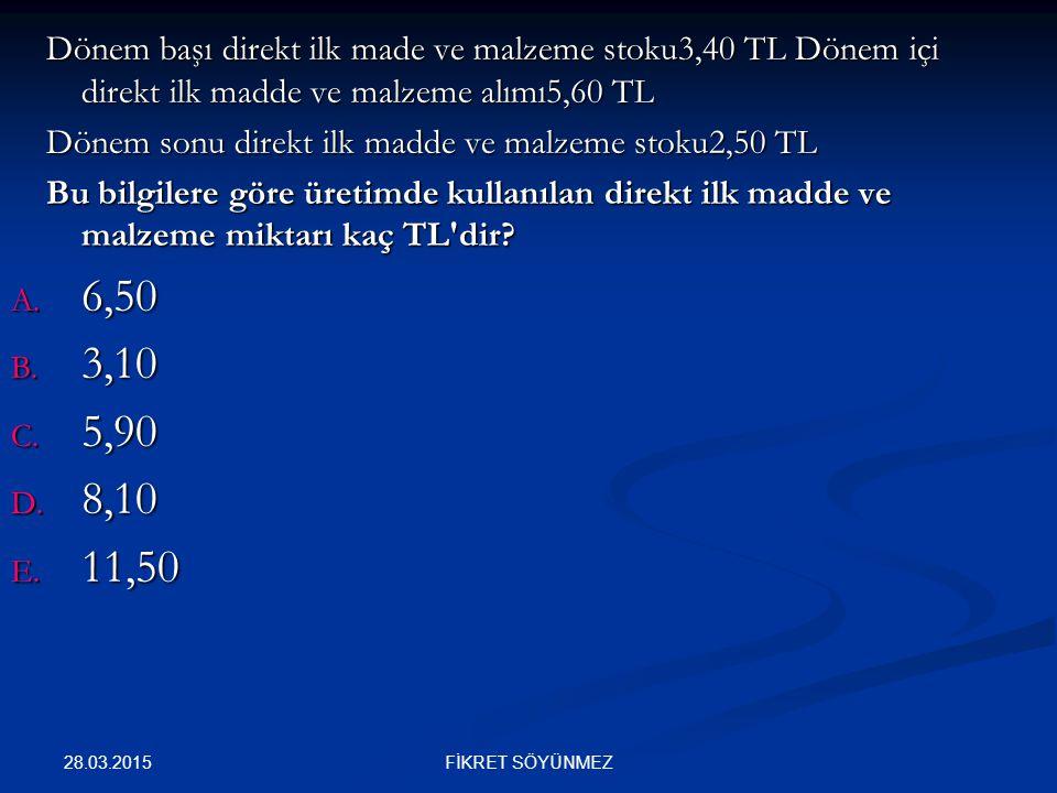 Dönem başı direkt ilk made ve malzeme stoku3,40 TL Dönem içi direkt ilk madde ve malzeme alımı5,60 TL
