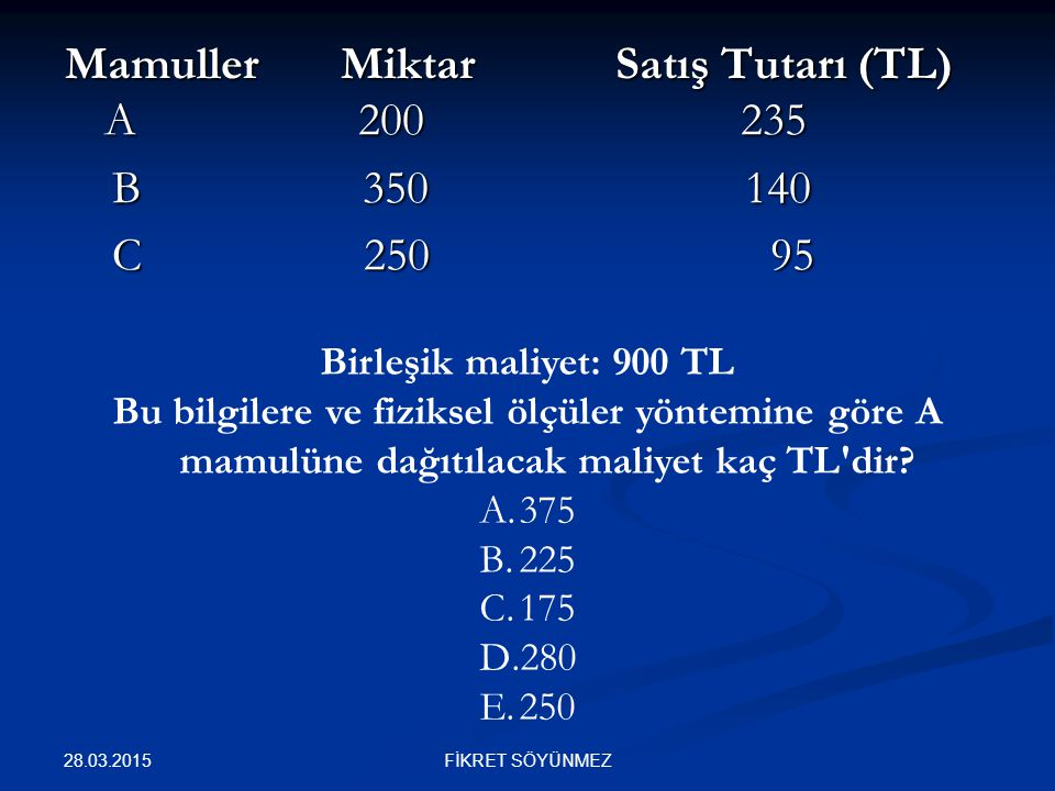 Mamuller Miktar Satış Tutarı (TL) A 200 235 B 350 140 C 250 95