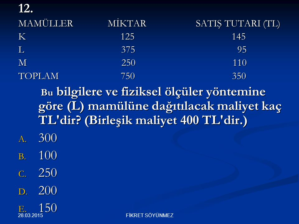 12. 300 100 250 200 150 MAMÜLLER MİKTAR SATIŞ TUTARI (TL) K 125 145