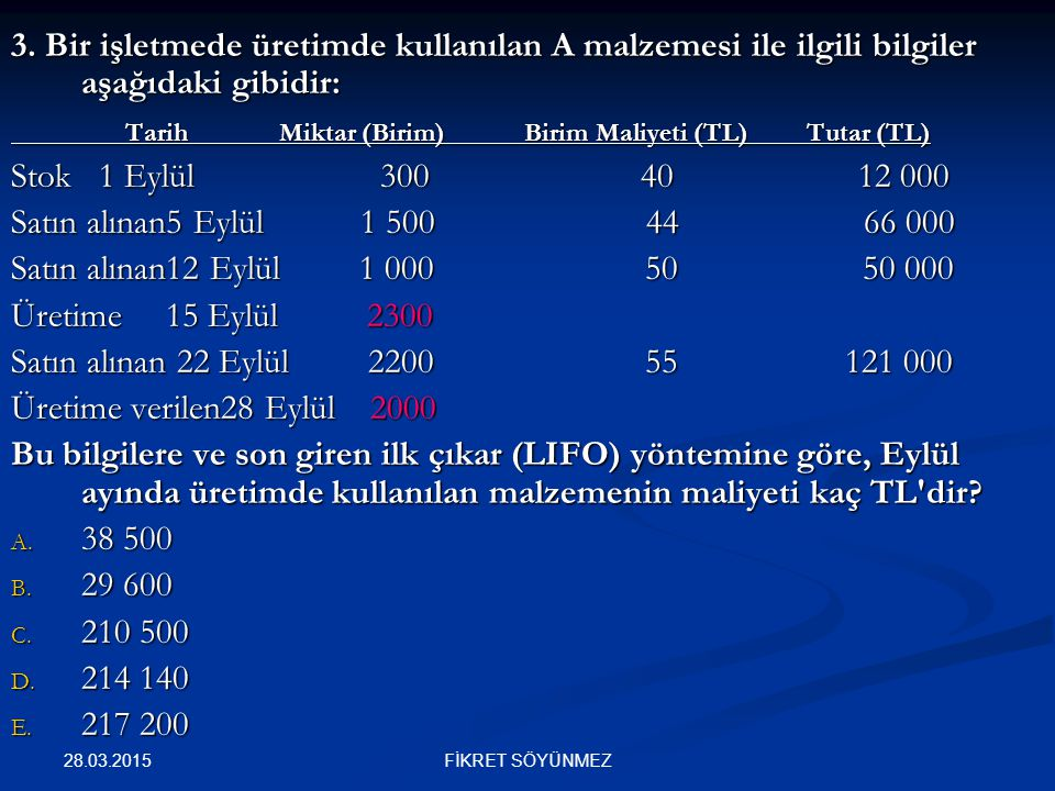 Tarih Miktar (Birim) Birim Maliyeti (TL) Tutar (TL)