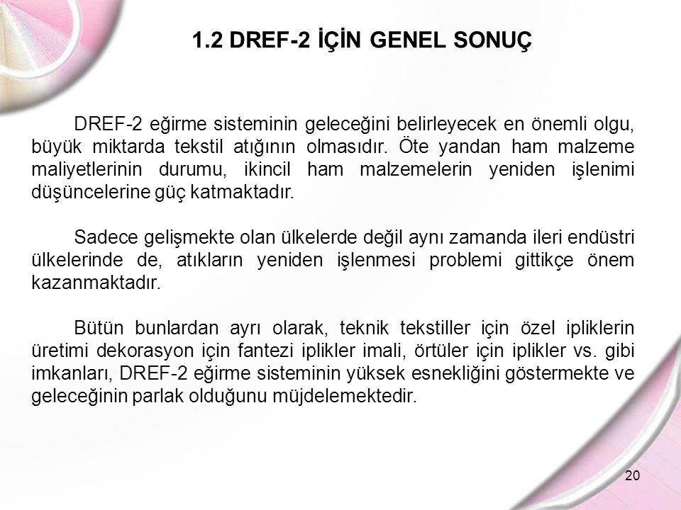 1.2 DREF-2 İÇİN GENEL SONUÇ