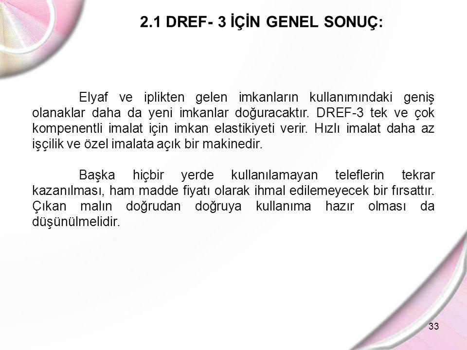 2.1 DREF- 3 İÇİN GENEL SONUÇ: