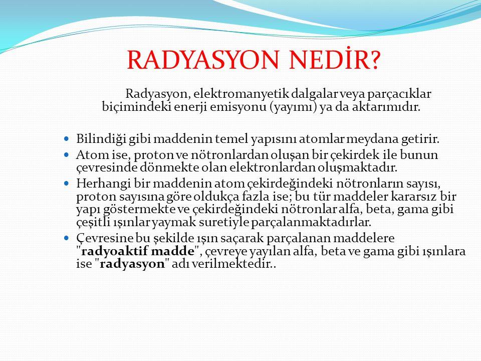 RADYASYON NEDİR Radyasyon, elektromanyetik dalgalar veya parçacıklar biçimindeki enerji emisyonu (yayımı) ya da aktarımıdır.