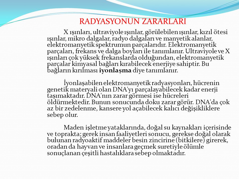 RADYASYONUN ZARARLARI
