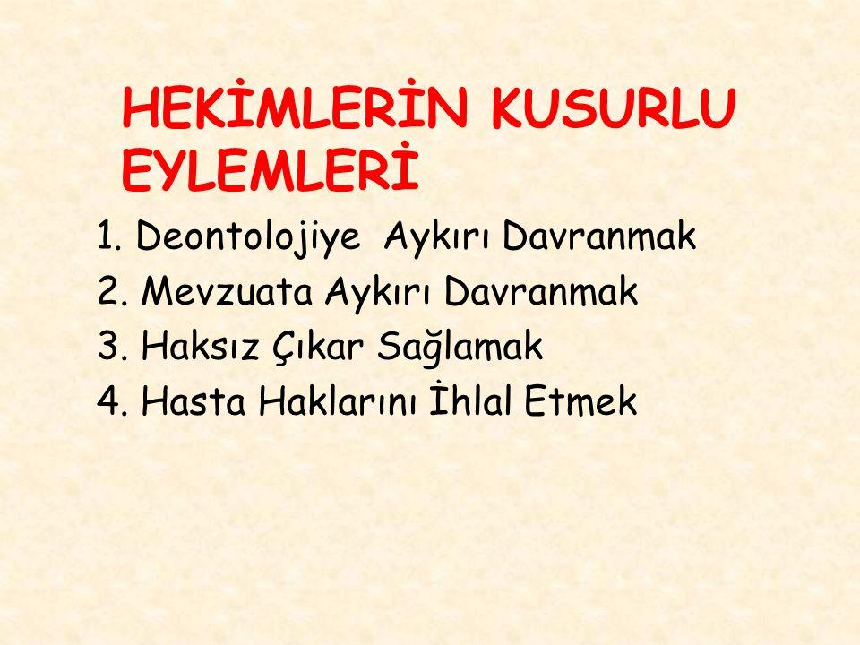 HEKİMLERİN KUSURLU EYLEMLERİ