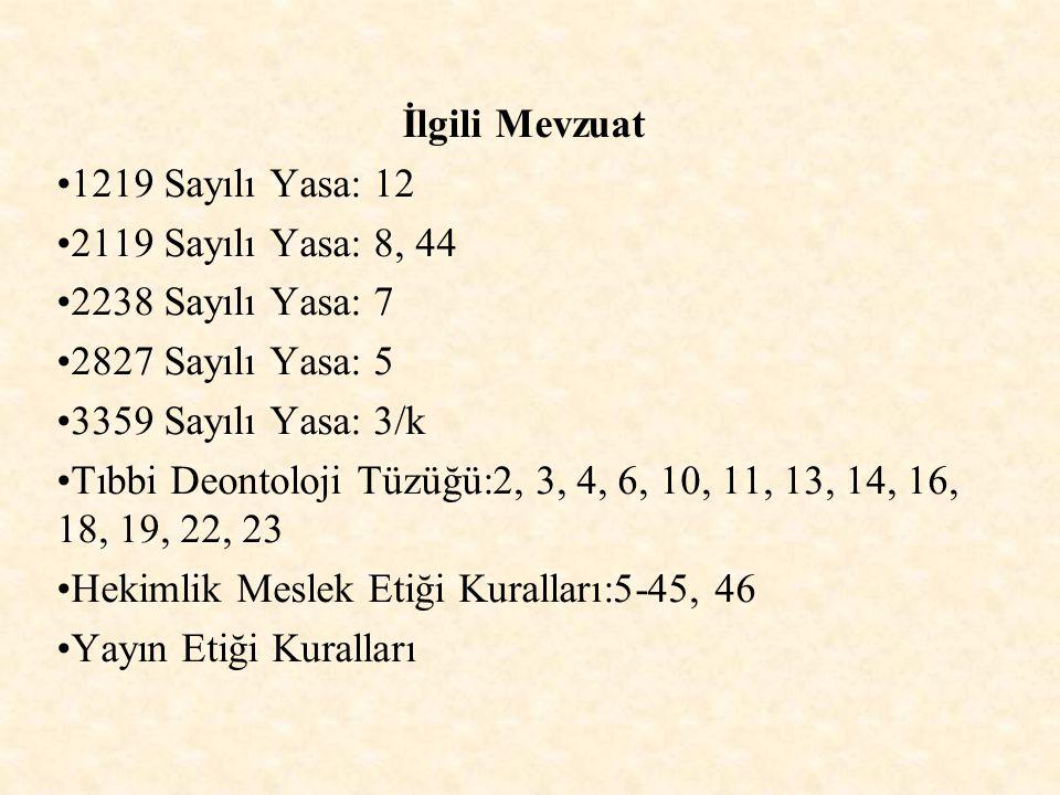 İlgili Mevzuat 1219 Sayılı Yasa: 12. 2119 Sayılı Yasa: 8, 44. 2238 Sayılı Yasa: 7. 2827 Sayılı Yasa: 5.