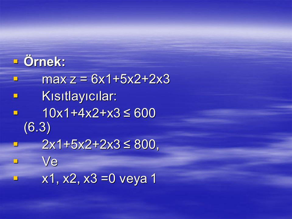 Örnek: max z = 6x1+5x2+2x3. Kısıtlayıcılar: 10x1+4x2+x3 ≤ 600 (6.3) 2x1+5x2+2x3 ≤ 800,
