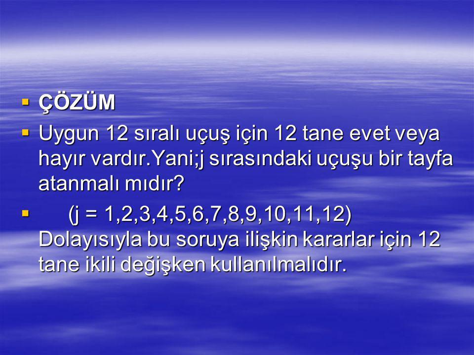 ÇÖZÜM Uygun 12 sıralı uçuş için 12 tane evet veya hayır vardır.Yani;j sırasındaki uçuşu bir tayfa atanmalı mıdır