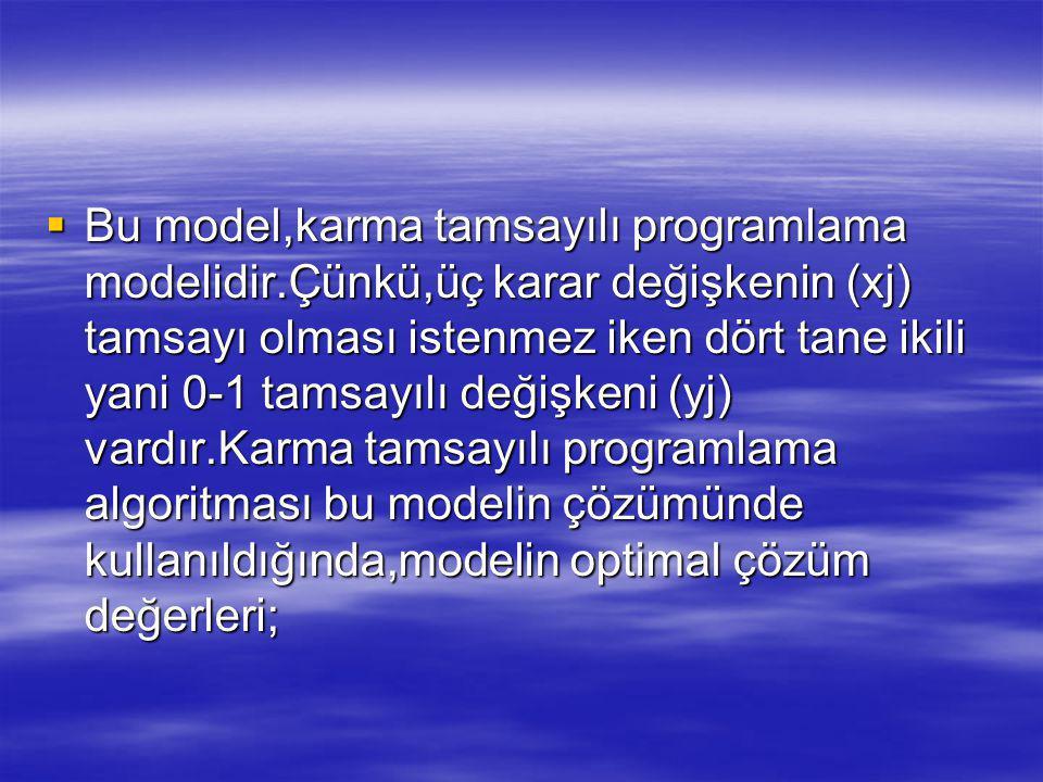 Bu model,karma tamsayılı programlama modelidir