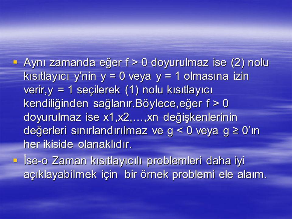 Aynı zamanda eğer f > 0 doyurulmaz ise (2) nolu kısıtlayıcı y'nin y = 0 veya y = 1 olmasına izin verir,y = 1 seçilerek (1) nolu kısıtlayıcı kendiliğinden sağlanır.Böylece,eğer f > 0 doyurulmaz ise x1,x2,…,xn değişkenlerinin değerleri sınırlandırılmaz ve g < 0 veya g ≥ 0'ın her ikiside olanaklıdır.