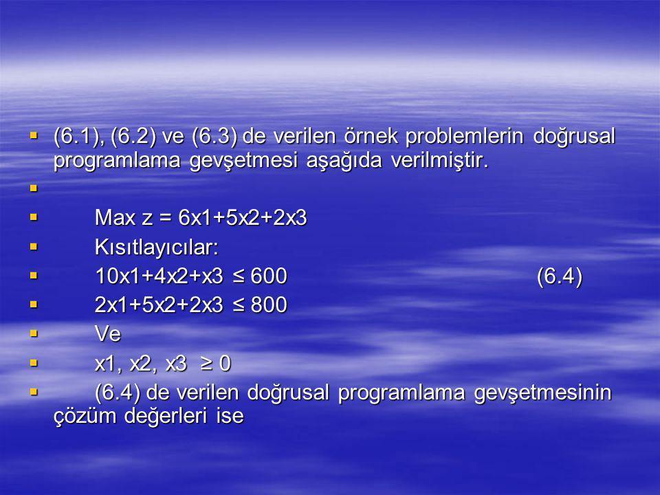 (6.1), (6.2) ve (6.3) de verilen örnek problemlerin doğrusal programlama gevşetmesi aşağıda verilmiştir.