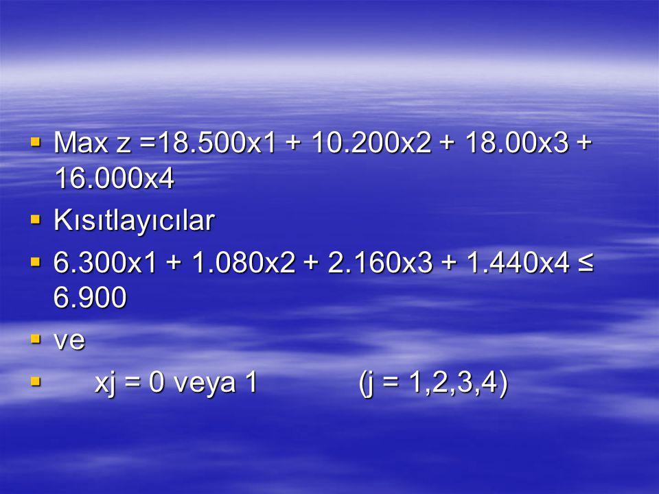 Max z =18.500x1 + 10.200x2 + 18.00x3 + 16.000x4 Kısıtlayıcılar. 6.300x1 + 1.080x2 + 2.160x3 + 1.440x4 ≤ 6.900.
