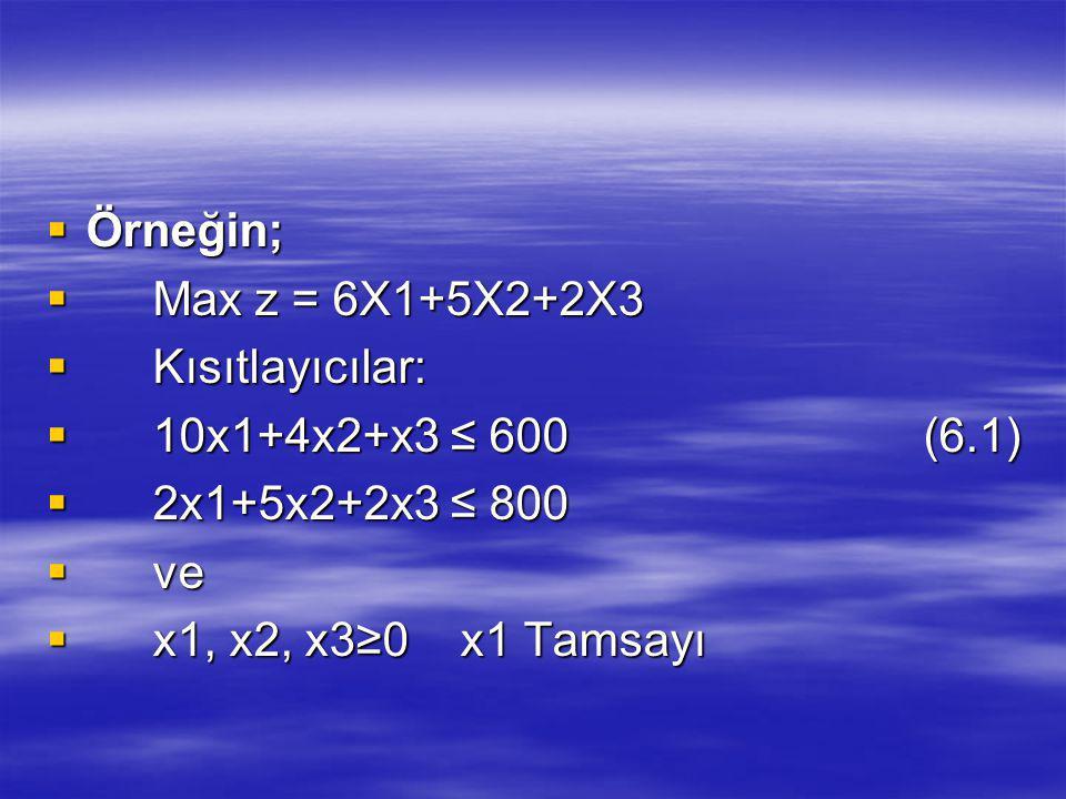 Örneğin; Max z = 6X1+5X2+2X3. Kısıtlayıcılar: 10x1+4x2+x3 ≤ 600 (6.1) 2x1+5x2+2x3 ≤ 800.