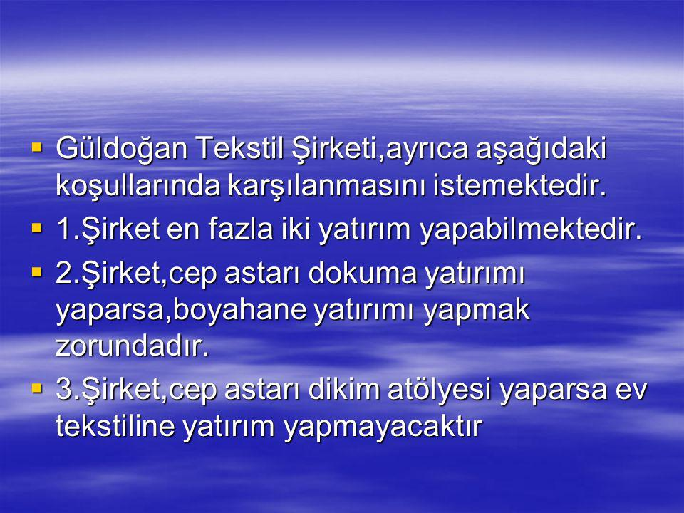 Güldoğan Tekstil Şirketi,ayrıca aşağıdaki koşullarında karşılanmasını istemektedir.