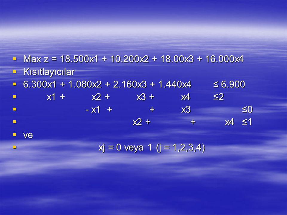 Max z = 18.500x1 + 10.200x2 + 18.00x3 + 16.000x4 Kısıtlayıcılar. 6.300x1 + 1.080x2 + 2.160x3 + 1.440x4 ≤ 6.900.