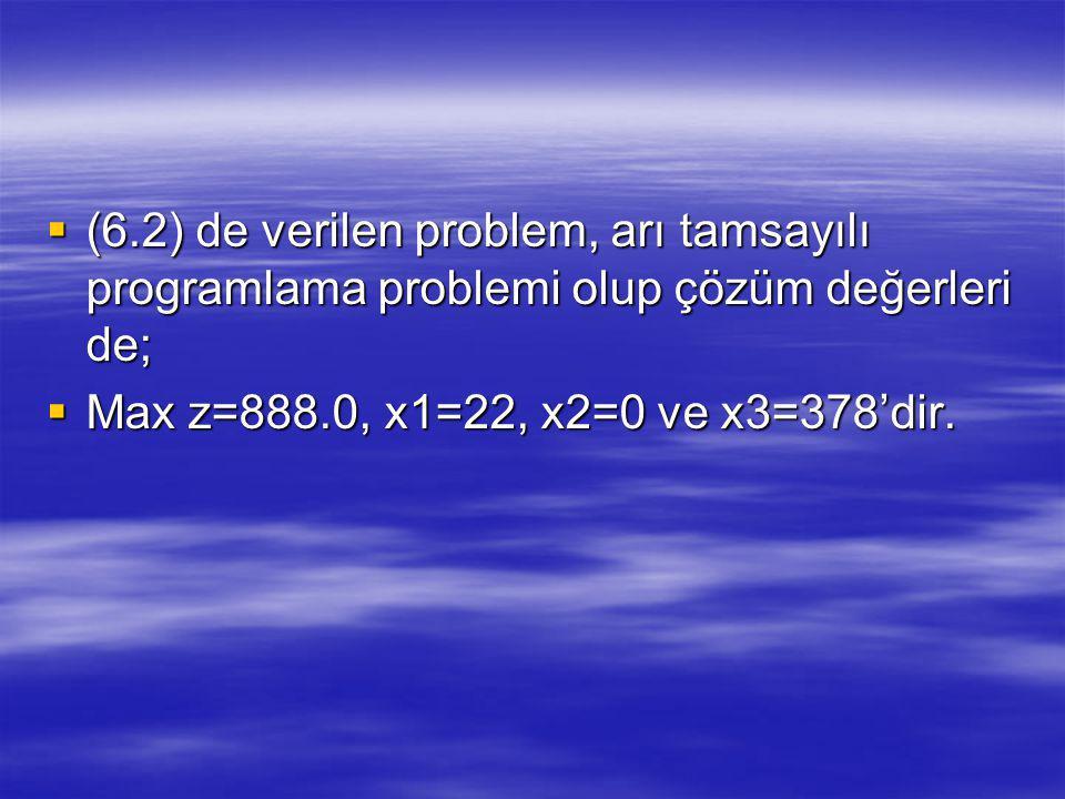 (6.2) de verilen problem, arı tamsayılı programlama problemi olup çözüm değerleri de;
