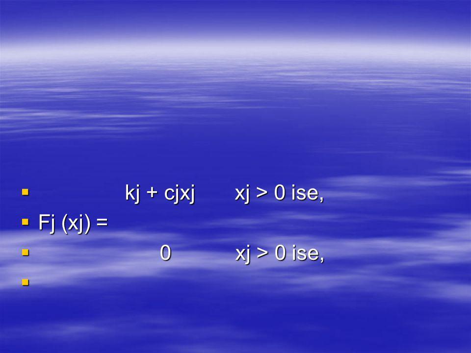 kj + cjxj xj > 0 ise, Fj (xj) = 0 xj > 0 ise,