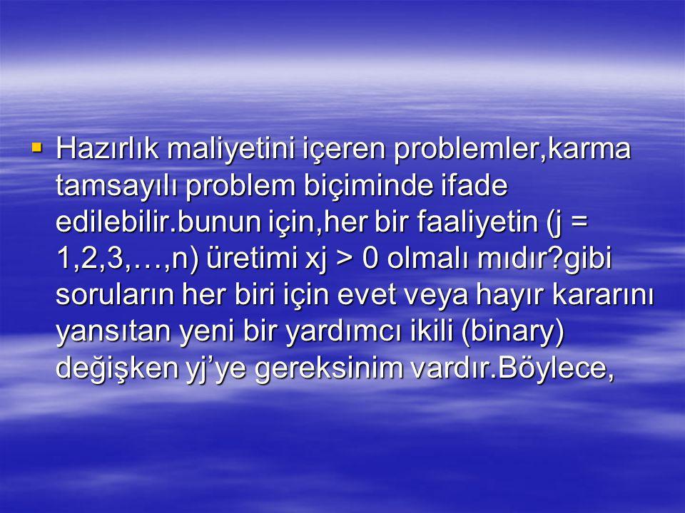 Hazırlık maliyetini içeren problemler,karma tamsayılı problem biçiminde ifade edilebilir.bunun için,her bir faaliyetin (j = 1,2,3,…,n) üretimi xj > 0 olmalı mıdır gibi soruların her biri için evet veya hayır kararını yansıtan yeni bir yardımcı ikili (binary) değişken yj'ye gereksinim vardır.Böylece,