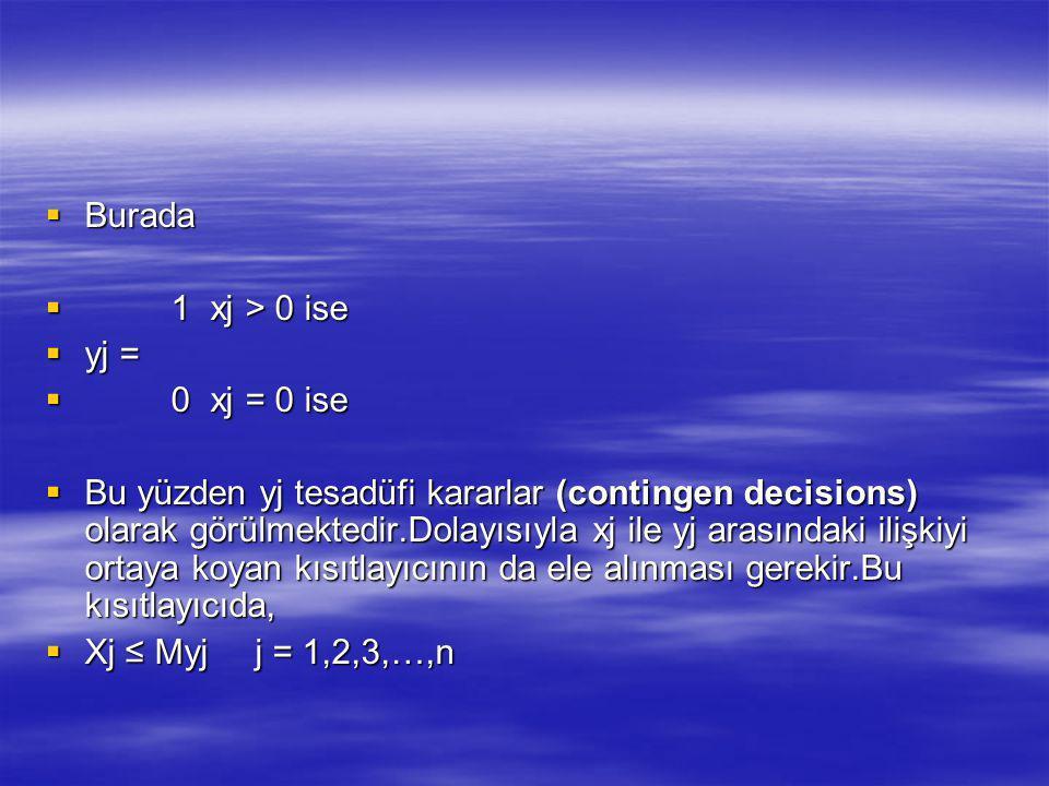 Burada 1 xj > 0 ise. yj = 0 xj = 0 ise.