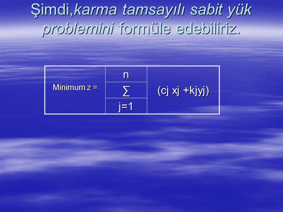 Şimdi,karma tamsayılı sabit yük problemini formüle edebiliriz.
