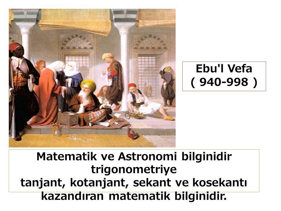 Ebu l Vefa ( 940-998 ) Matematik ve Astronomi bilginidir trigonometriye tanjant, kotanjant, sekant ve kosekantı kazandıran matematik bilginidir.