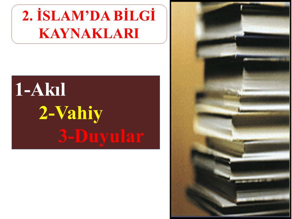 2. İSLAM'DA BİLGİ KAYNAKLARI
