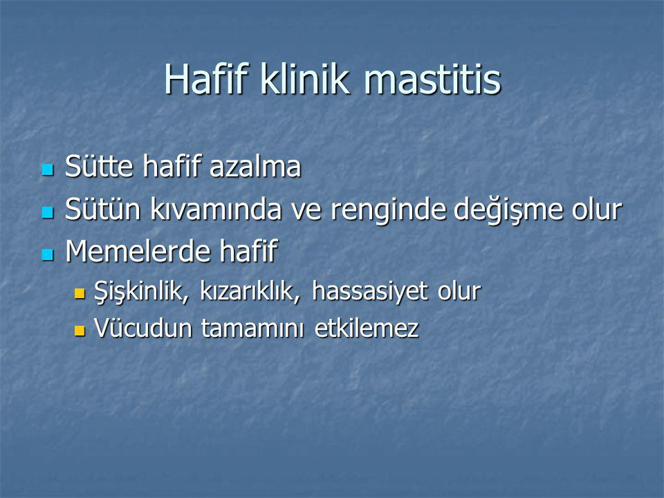 Hafif klinik mastitis Sütte hafif azalma