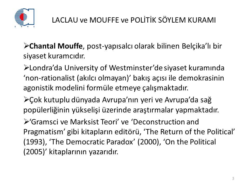 LACLAU ve MOUFFE ve POLİTİK SÖYLEM KURAMI