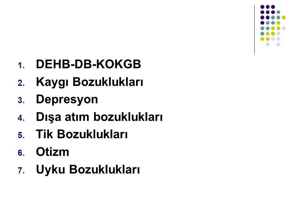 DEHB-DB-KOKGB Kaygı Bozuklukları. Depresyon. Dışa atım bozuklukları.