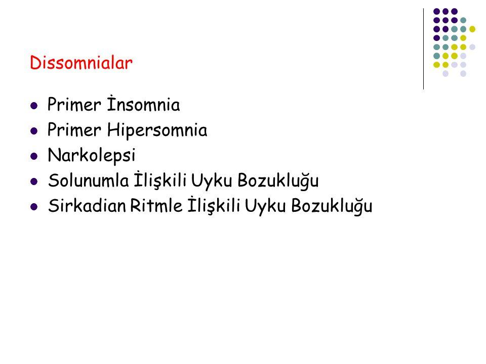 Dissomnialar Primer İnsomnia. Primer Hipersomnia. Narkolepsi. Solunumla İlişkili Uyku Bozukluğu.