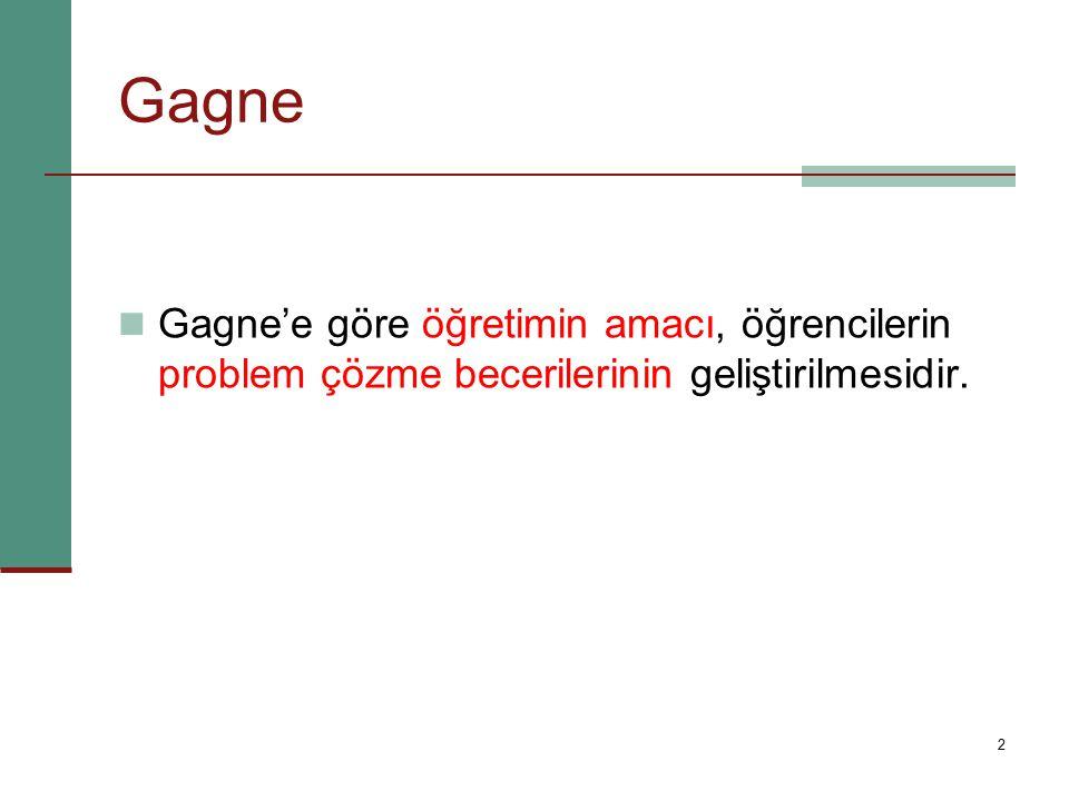 Gagne Gagne'e göre öğretimin amacı, öğrencilerin problem çözme becerilerinin geliştirilmesidir.