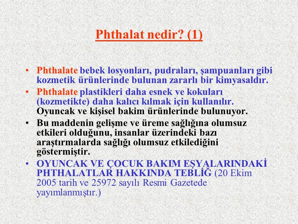 Phthalat nedir (1) Phthalate bebek losyonları, pudraları, şampuanları gibi kozmetik ürünlerinde bulunan zararlı bir kimyasaldır.