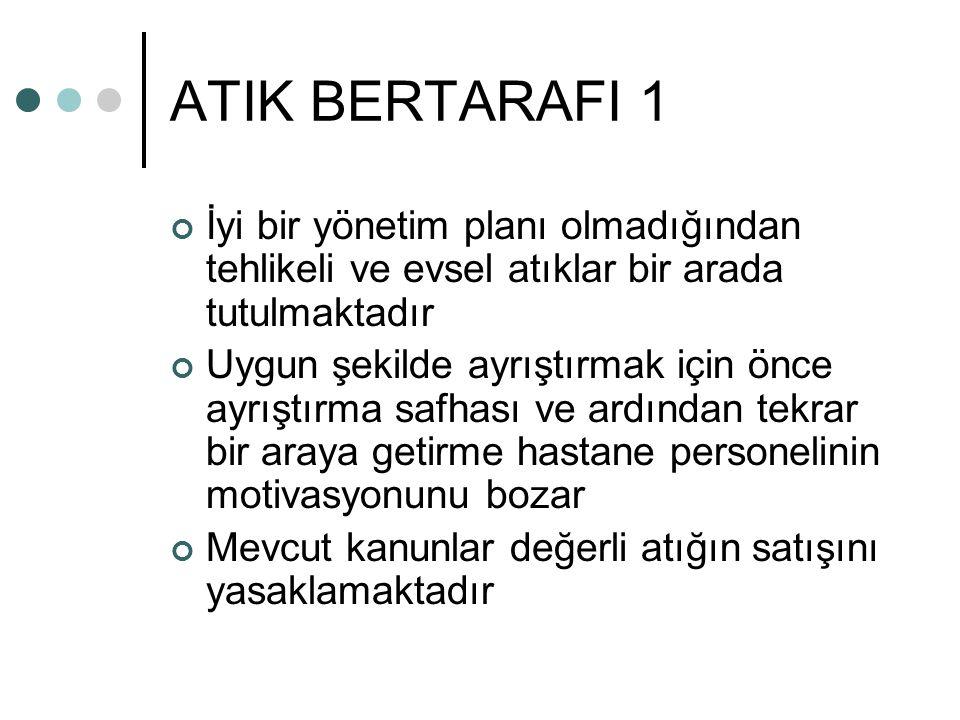 ATIK BERTARAFI 1 İyi bir yönetim planı olmadığından tehlikeli ve evsel atıklar bir arada tutulmaktadır.