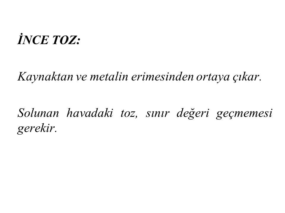İNCE TOZ: Kaynaktan ve metalin erimesinden ortaya çıkar.