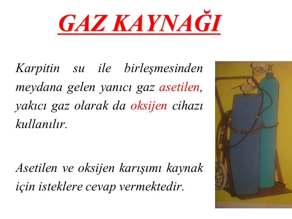 GAZ KAYNAĞI Karpitin su ile birleşmesinden meydana gelen yanıcı gaz asetilen, yakıcı gaz olarak da oksijen cihazı kullanılır.