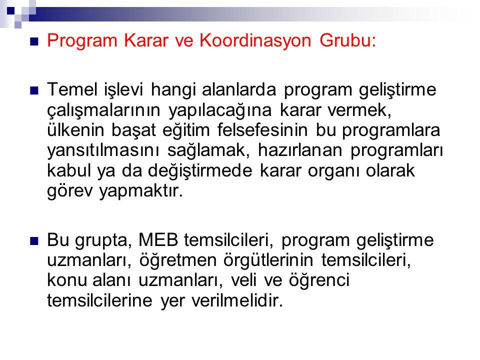 Program Karar ve Koordinasyon Grubu: