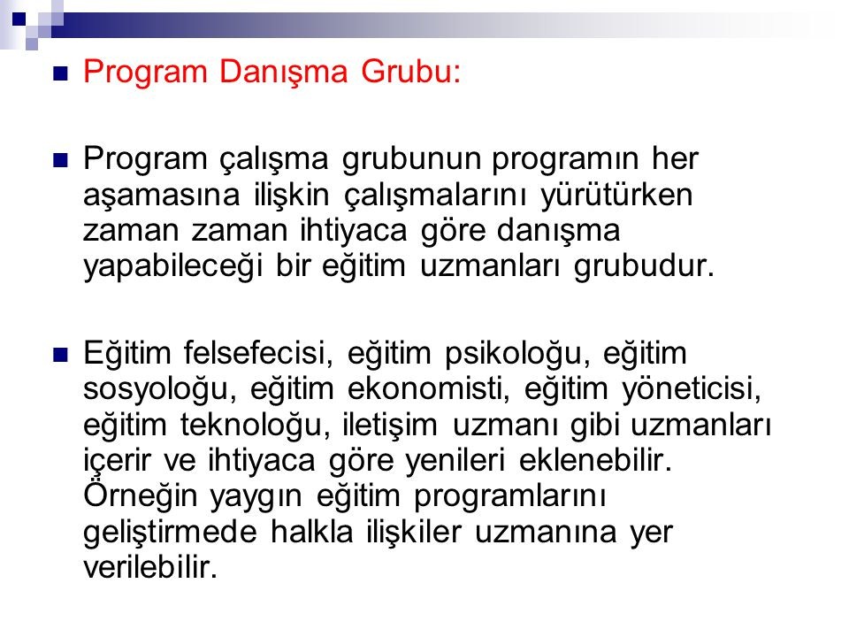 Program Danışma Grubu: