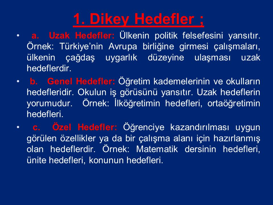 1. Dikey Hedefler ;