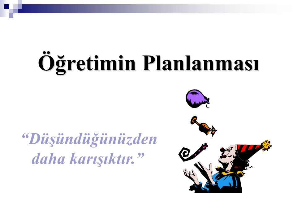 Öğretimin Planlanması