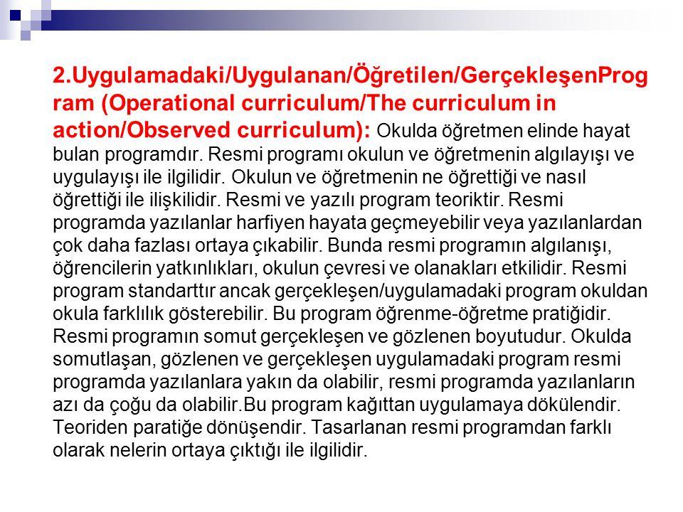 2.Uygulamadaki/Uygulanan/Öğretilen/GerçekleşenProgram (Operational curriculum/The curriculum in action/Observed curriculum): Okulda öğretmen elinde hayat bulan programdır.