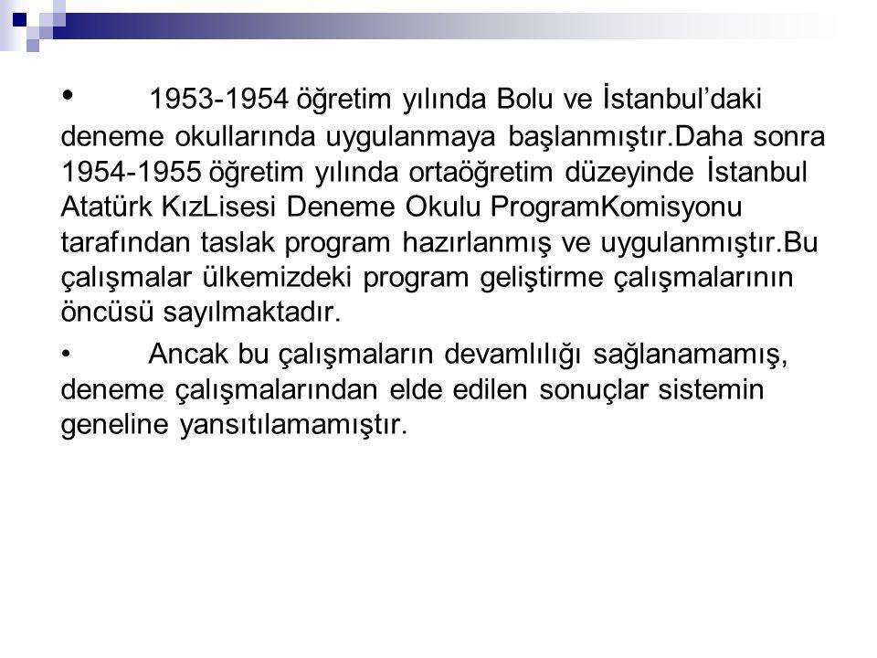 • 1953-1954 öğretim yılında Bolu ve İstanbul'daki deneme okullarında uygulanmaya başlanmıştır.Daha sonra 1954-1955 öğretim yılında ortaöğretim düzeyinde İstanbul Atatürk KızLisesi Deneme Okulu ProgramKomisyonu tarafından taslak program hazırlanmış ve uygulanmıştır.Bu çalışmalar ülkemizdeki program geliştirme çalışmalarının öncüsü sayılmaktadır.