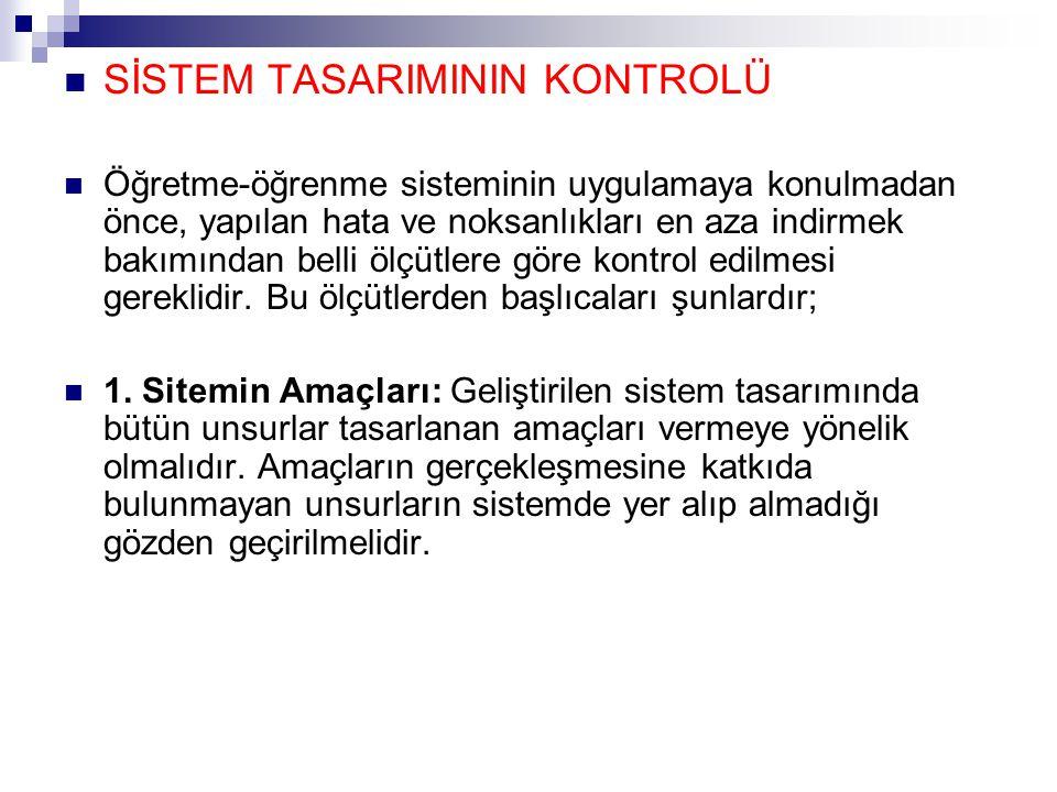 SİSTEM TASARIMININ KONTROLÜ