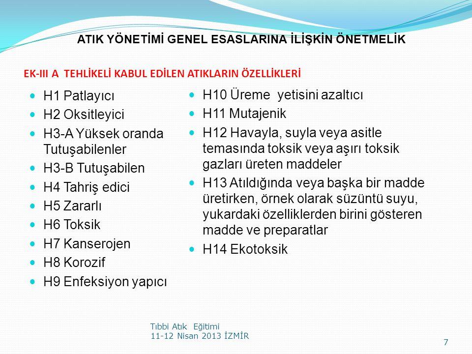 EK-III A TEHLİKELİ KABUL EDİLEN ATIKLARIN ÖZELLİKLERİ