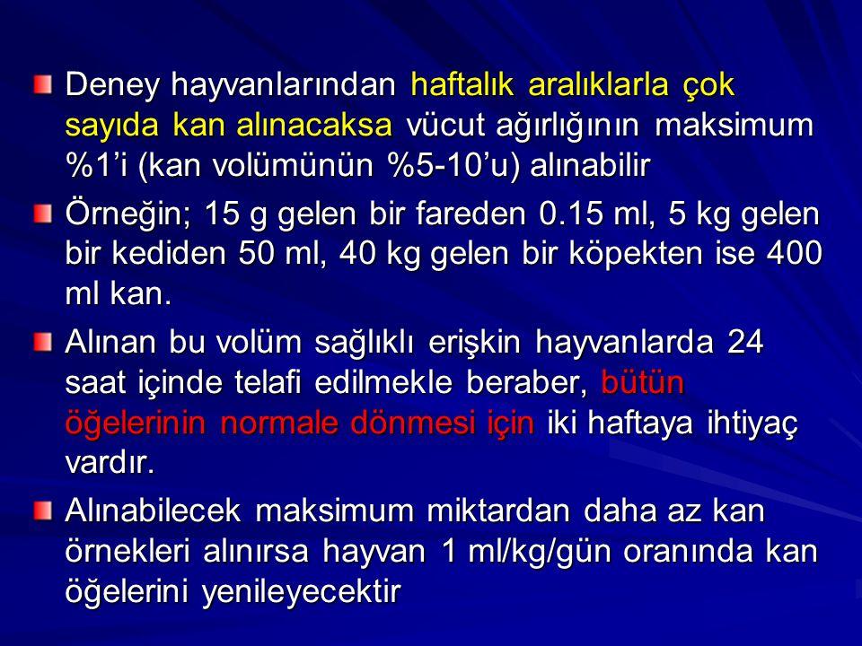 Deney hayvanlarından haftalık aralıklarla çok sayıda kan alınacaksa vücut ağırlığının maksimum %1'i (kan volümünün %5-10'u) alınabilir